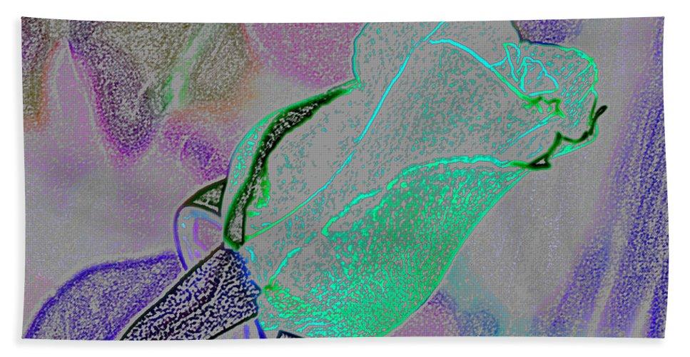 Augusta Stylianou Hand Towel featuring the digital art Blue Bud by Augusta Stylianou