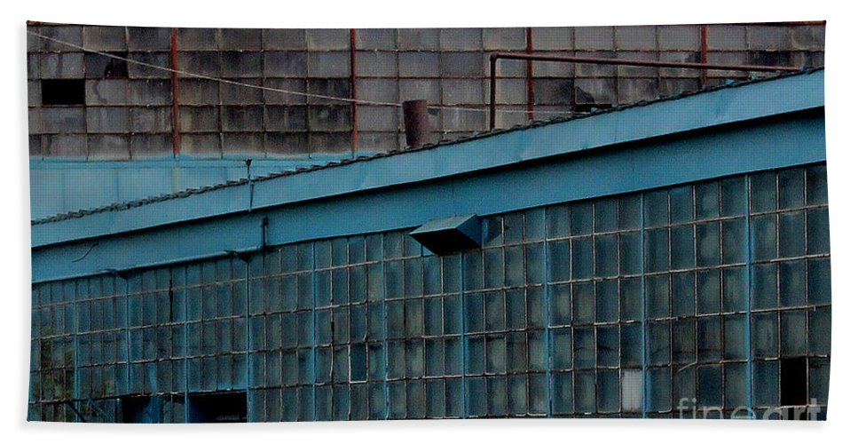 Building Bath Sheet featuring the photograph Blue Building Windows by Karen Adams