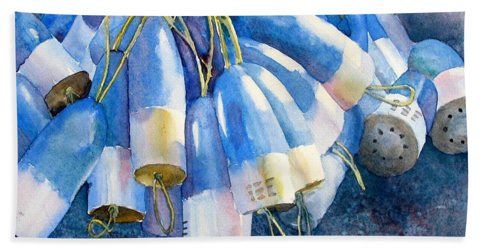 Nature Hand Towel featuring the painting Blue Bundle by Sherri Bails