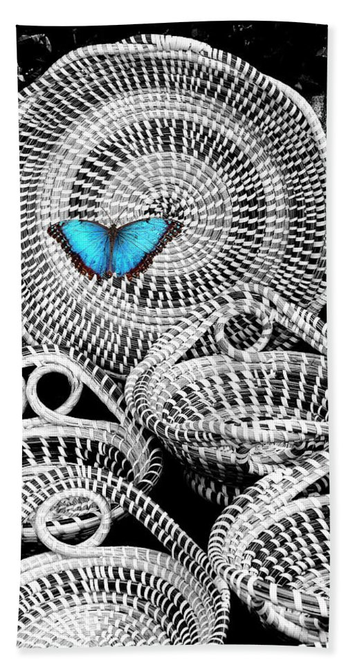 Charleston Hand Towel featuring the photograph Blue Butterfly Charleston by William Dey
