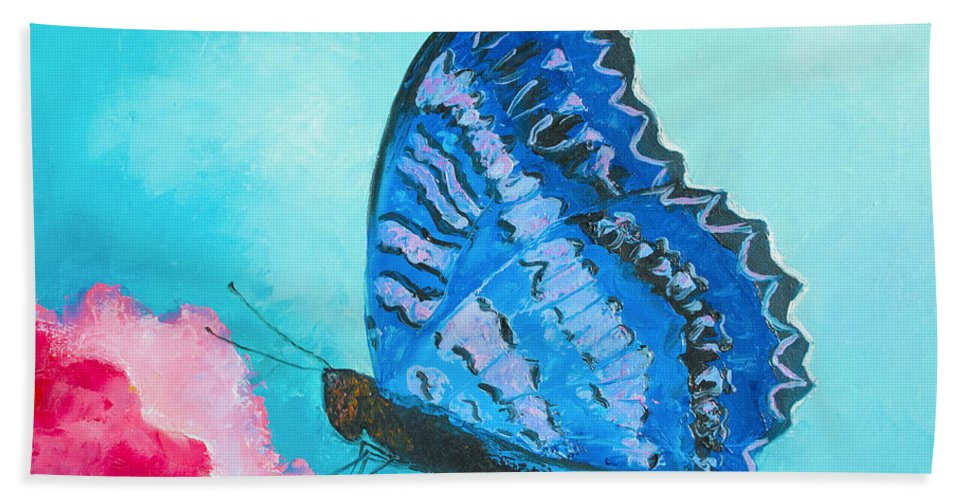 Butterfly Hand Towel featuring the painting Blue Butterfly by Jan Matson
