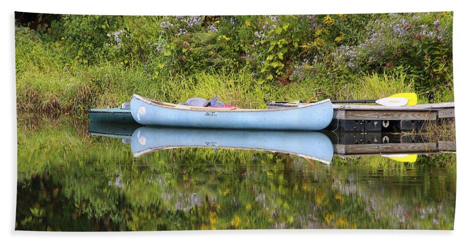 Pond Hand Towel featuring the photograph Blue Canoe by Deborah Benoit