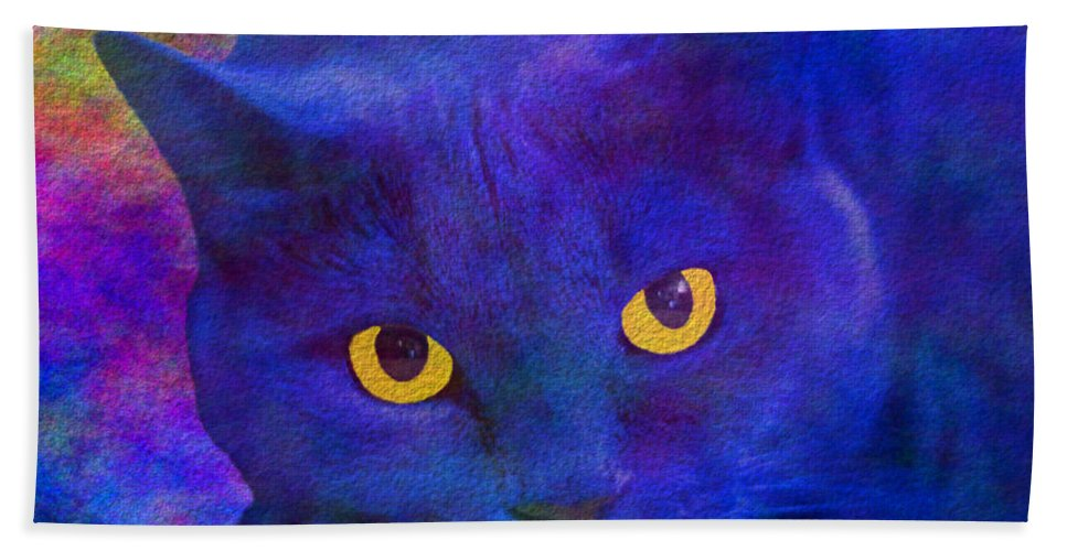 Cat Bath Sheet featuring the digital art Blue Cat Ponders by Diane Parnell