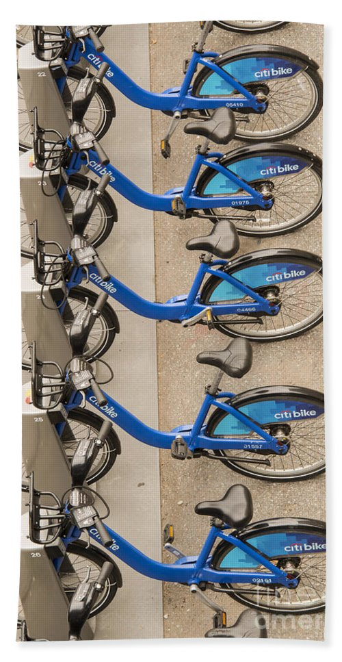 Blue City Bike Bikes Bicycle Rental Bicycles Wheel Wheels Cities Cityscape Cityscapes Public Transportation New York City Bath Sheet featuring the photograph Blue City Bikes by Bob Phillips