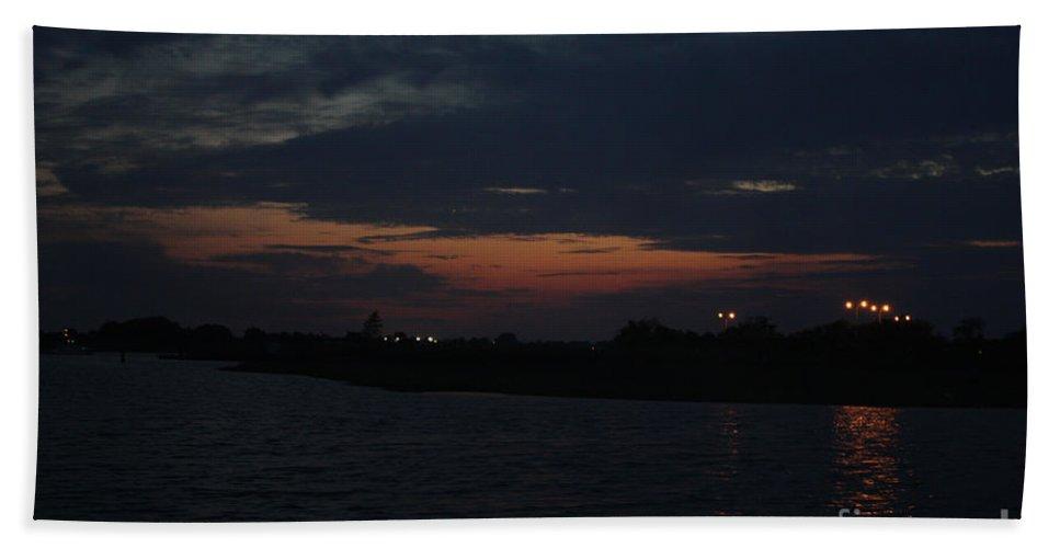 Blue Clouds At Night Over Long Island Bath Sheet featuring the photograph Blue Clouds At Night Over Long Island by John Telfer
