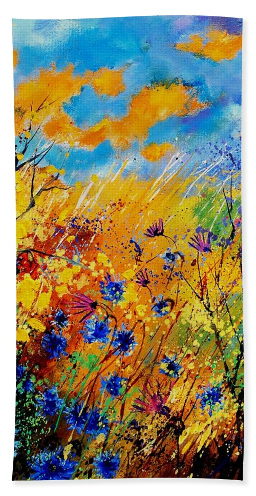 Poppies Bath Sheet featuring the painting Blue Cornflowers 450408 by Pol Ledent