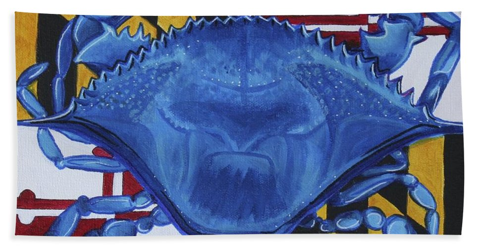 Maryland Bath Towel featuring the painting Blue Crab by Kate Fortin