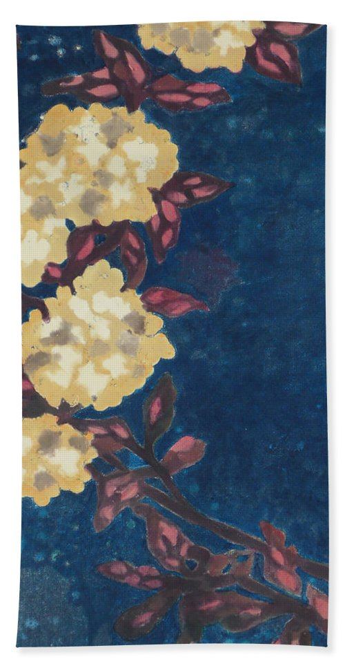 Decorative Bath Sheet featuring the mixed media Blue Cream by Karen Coggeshall