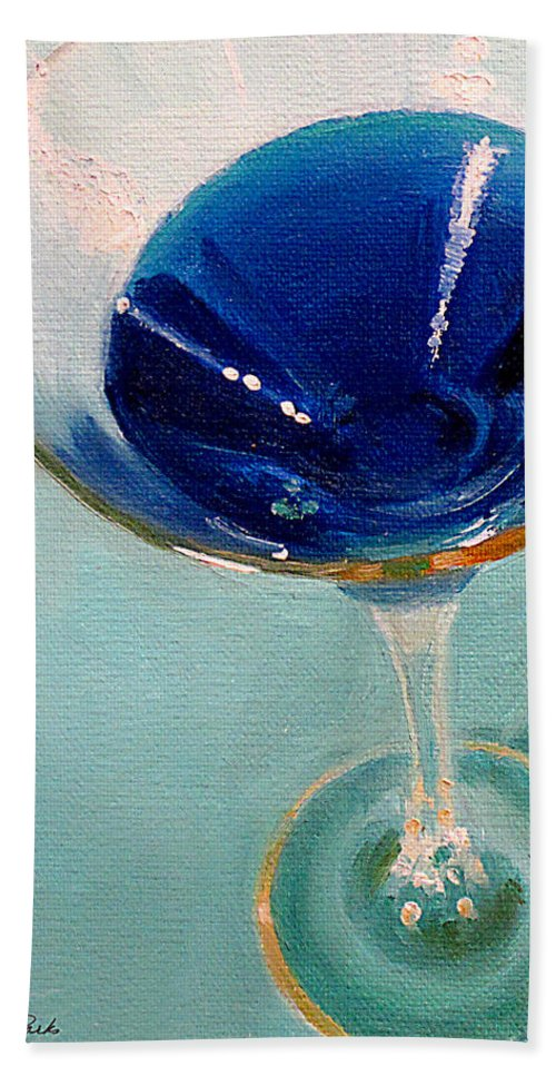Martini Bath Sheet featuring the painting Blue Curacao by Sarah Parks