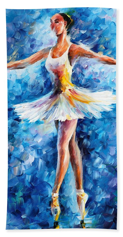 Dance Bath Towel featuring the painting Blue Dance by Leonid Afremov