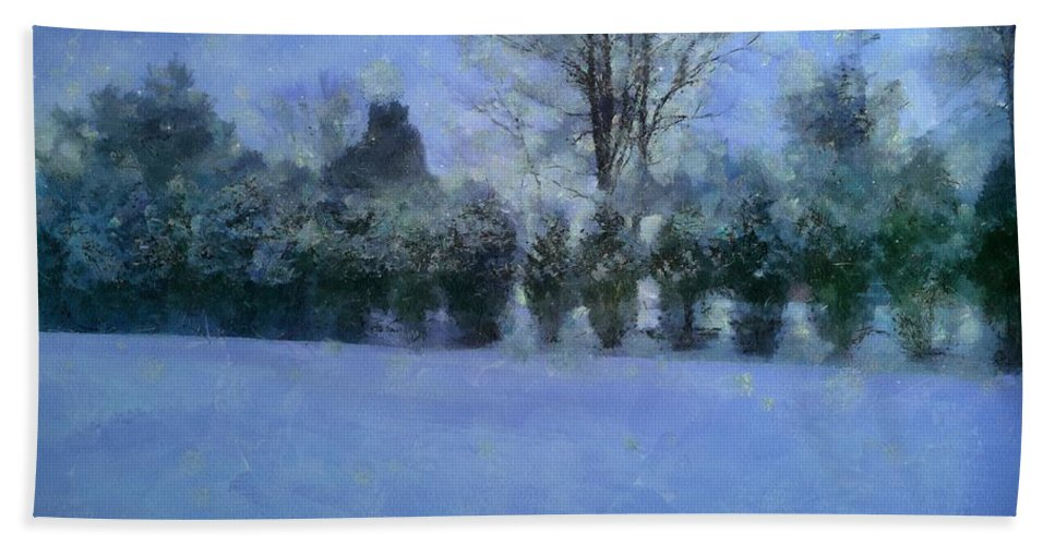 Landscape Hand Towel featuring the painting Blue Dawn by RC DeWinter