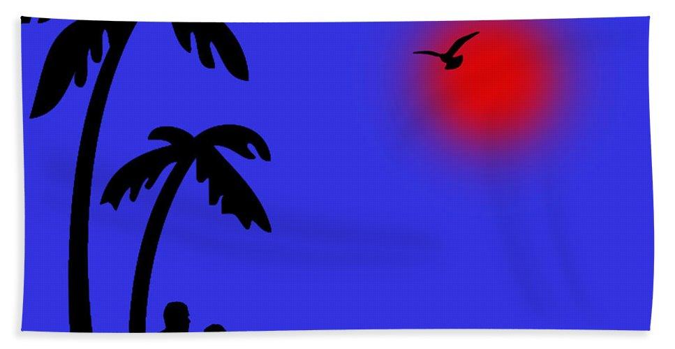 Red Sun Bath Sheet featuring the digital art Blue Days by Peter Stevenson