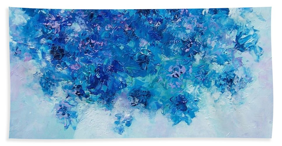 Delphiniums Hand Towel featuring the painting Blue Delphiniums by Jan Matson