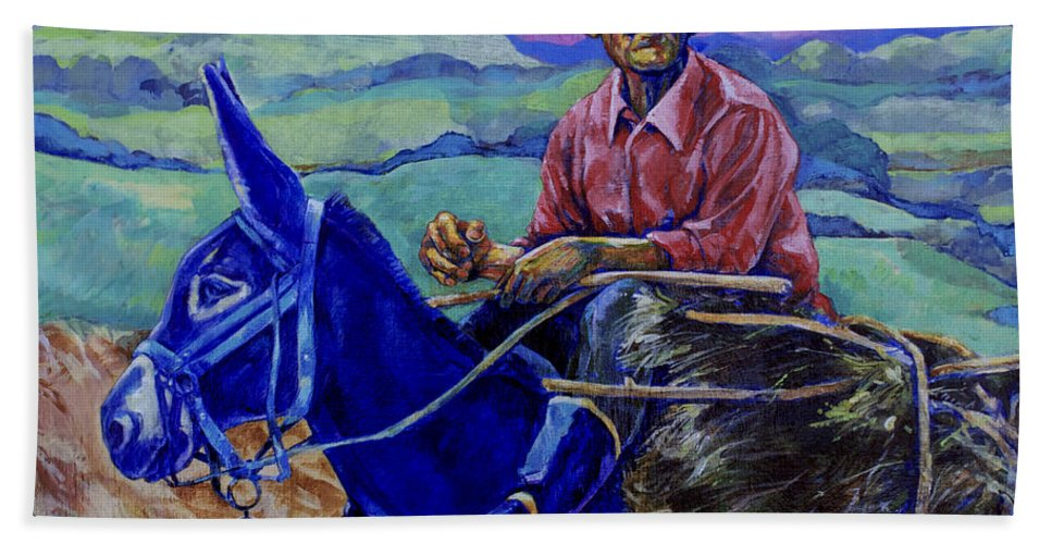 Donkey Hand Towel featuring the painting Blue Donkey by Derrick Higgins