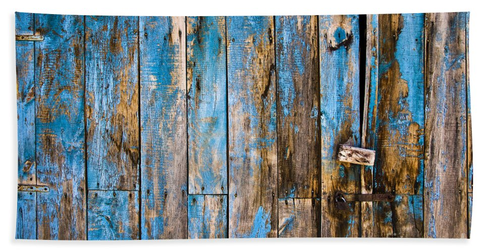 Blue Bath Sheet featuring the photograph Blue Door by Delphimages Photo Creations