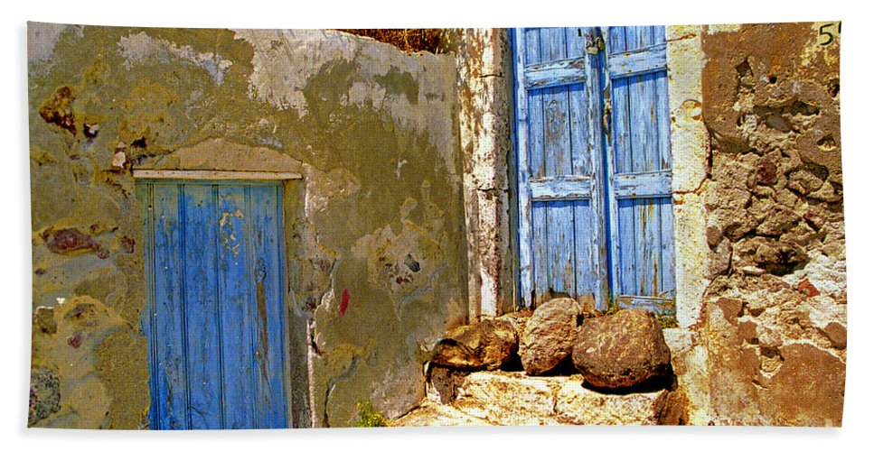 Greece Bath Sheet featuring the photograph Blue Doors Of Santorini by Madeline Ellis