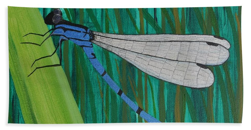 Dragonfly Bath Sheet featuring the painting Blue Dragonfly by Sally Rice