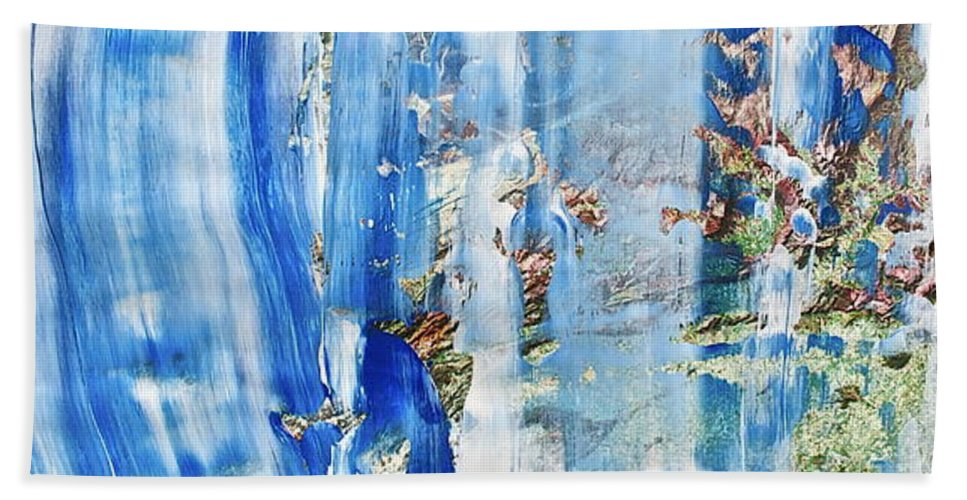 Blue Bath Sheet featuring the painting Blue Earth Abstract by Geoff Howard