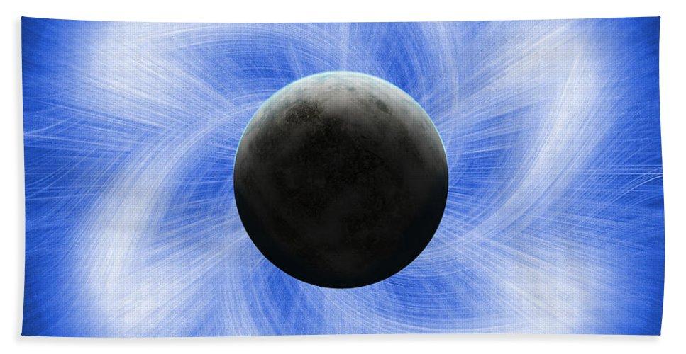 Abstract Bath Sheet featuring the digital art Blue Eclipse by Antony McAulay