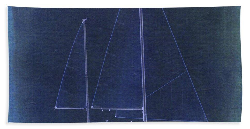 Regina Gallant Hand Towel featuring the drawing Blue Enchanement by Regina Marie Gallant