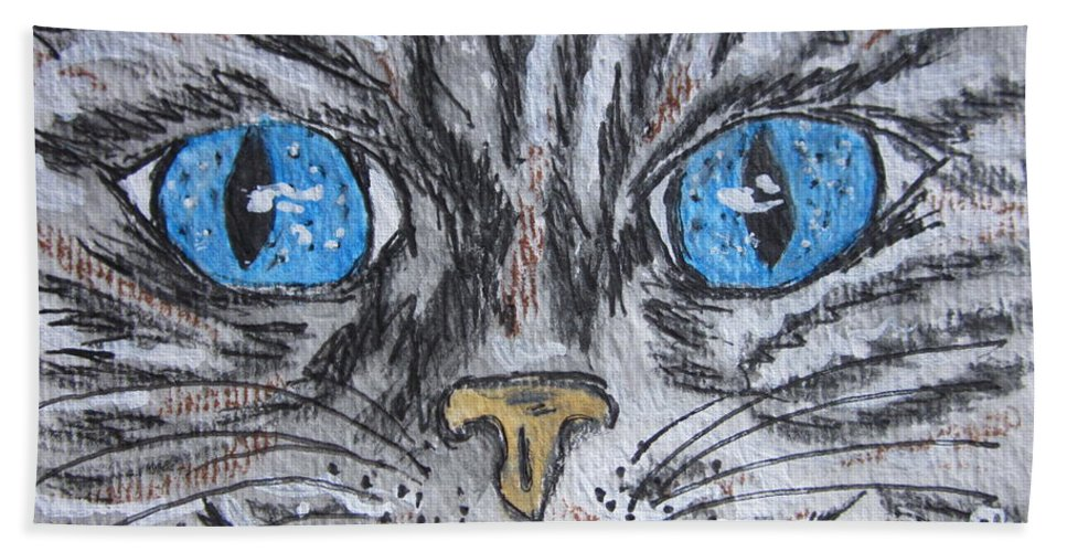Blue Eyes Bath Sheet featuring the painting Blue Eyed Stripped Cat by Kathy Marrs Chandler