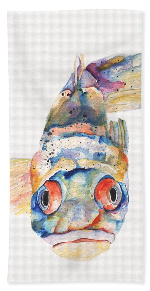 Pat Saunders-white Bath Sheet featuring the painting Blue Fish  by Pat Saunders-White