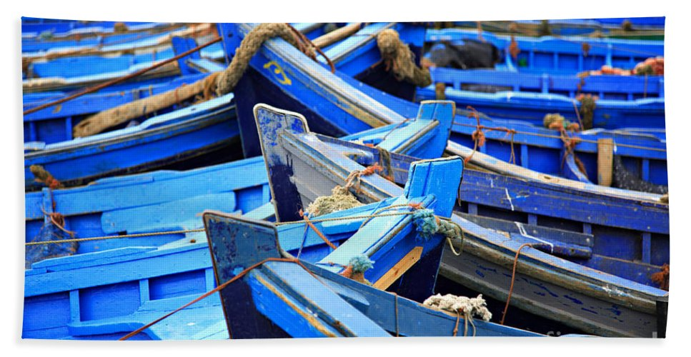 Africa Bath Sheet featuring the photograph Blue Fishing Boats by Deborah Benbrook