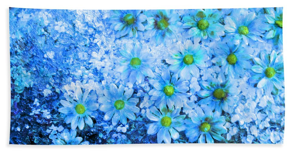 Blue Floral Fantasy Hand Towel featuring the mixed media Blue Floral Fantasy by Karin Dawn Kelshall- Best