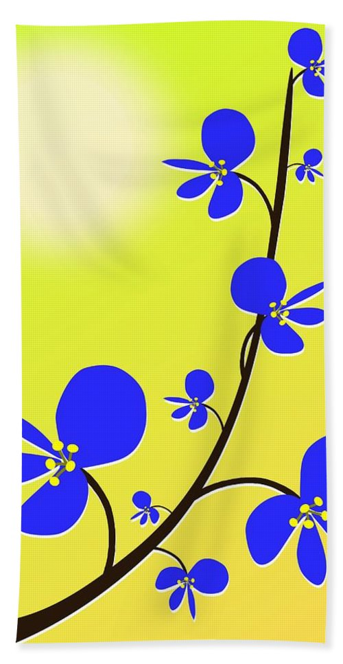 Nature Hand Towel featuring the digital art Blue Flowers by Anastasiya Malakhova