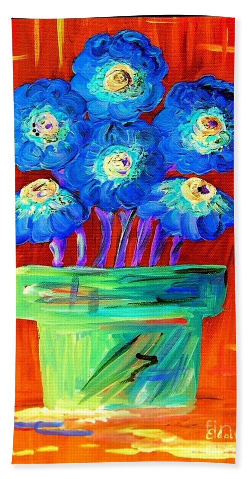Blue Hand Towel featuring the painting Blue Flowers On Orange by Eloise Schneider Mote