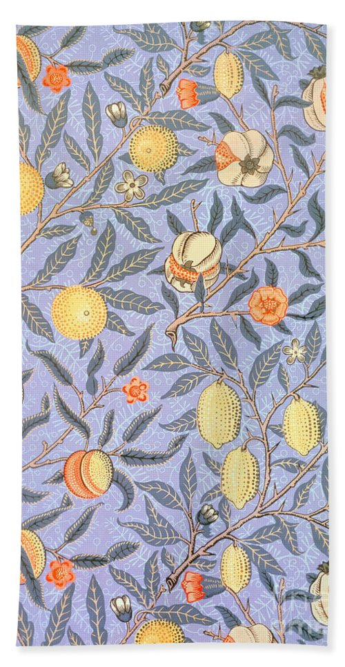 William Morris Bath Sheet featuring the drawing Blue Fruit by William Morris