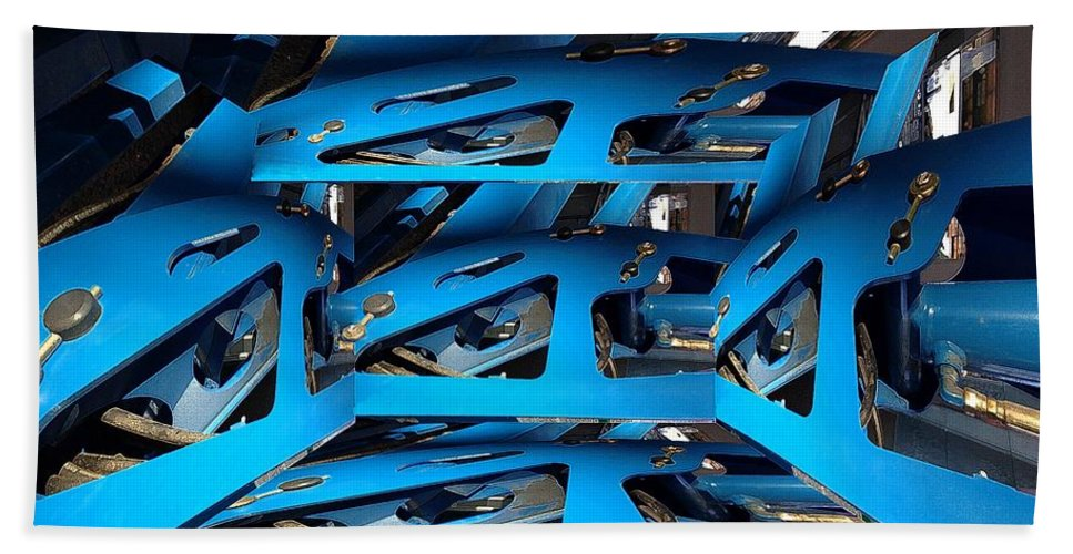 Abstract Hand Towel featuring the digital art Blue Girder by Ron Bissett