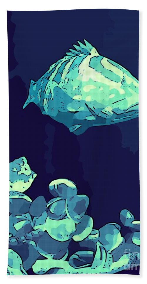 Fish Bath Sheet featuring the photograph Blue Grouper by John Malone