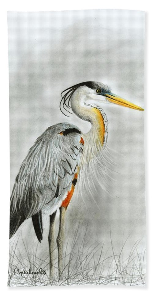 Heron Bath Sheet featuring the drawing Blue Heron 3 by Phyllis Howard