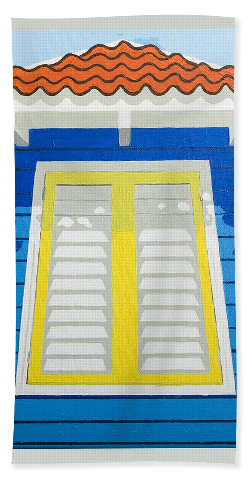 Caribbean House Architecture Sun Painting Blue Curacao Aruba Antilles Bath Towel featuring the painting Blue House by Trudie Canwood