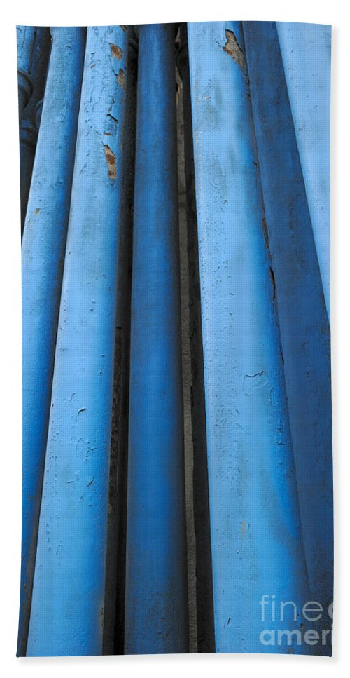 Pipeline Hand Towel featuring the photograph Blue Industrial Pipes by Grigorios Moraitis