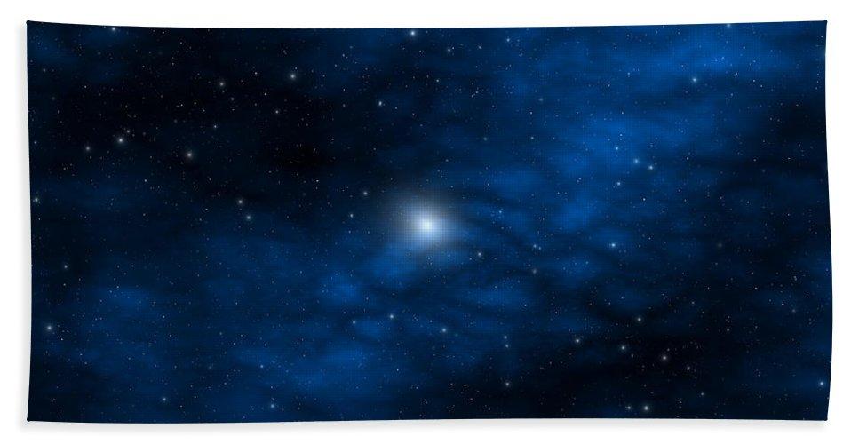 Space Bath Towel featuring the digital art Blue Interstellar Gas by Robert aka Bobby Ray Howle