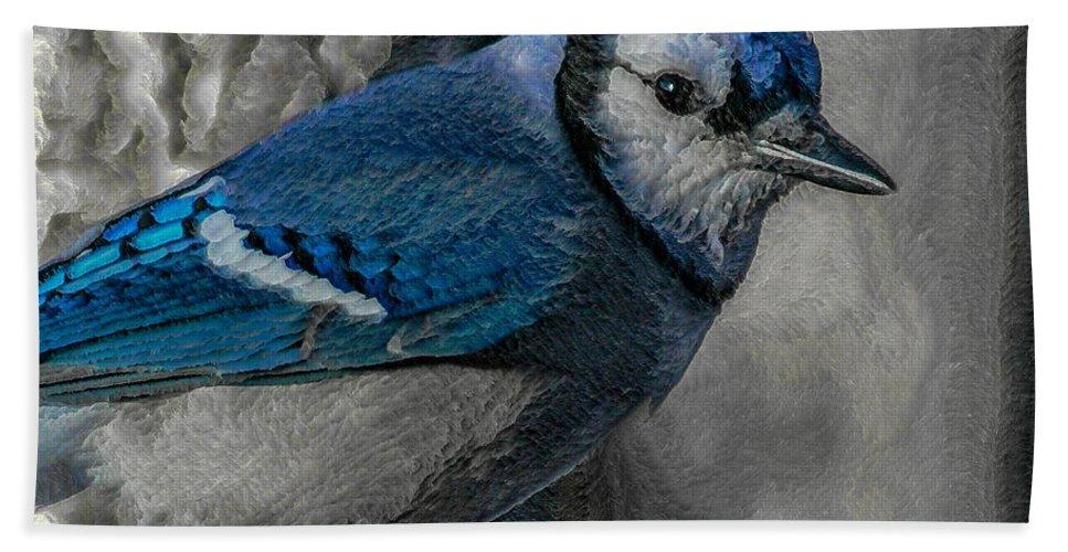 Bird Hand Towel featuring the digital art Blue Jay Painterly by Ernie Echols