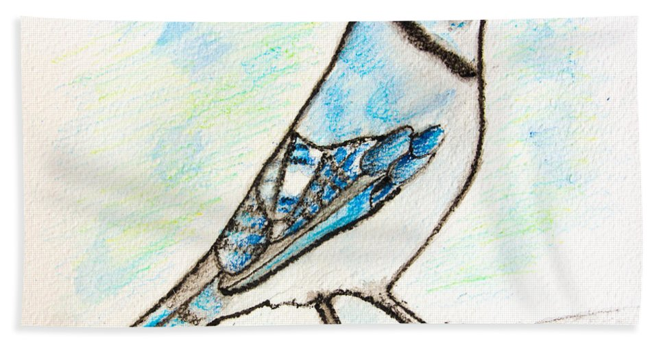 Watercolor Pencils Hand Towel featuring the drawing Blue Jay by Pati Photography