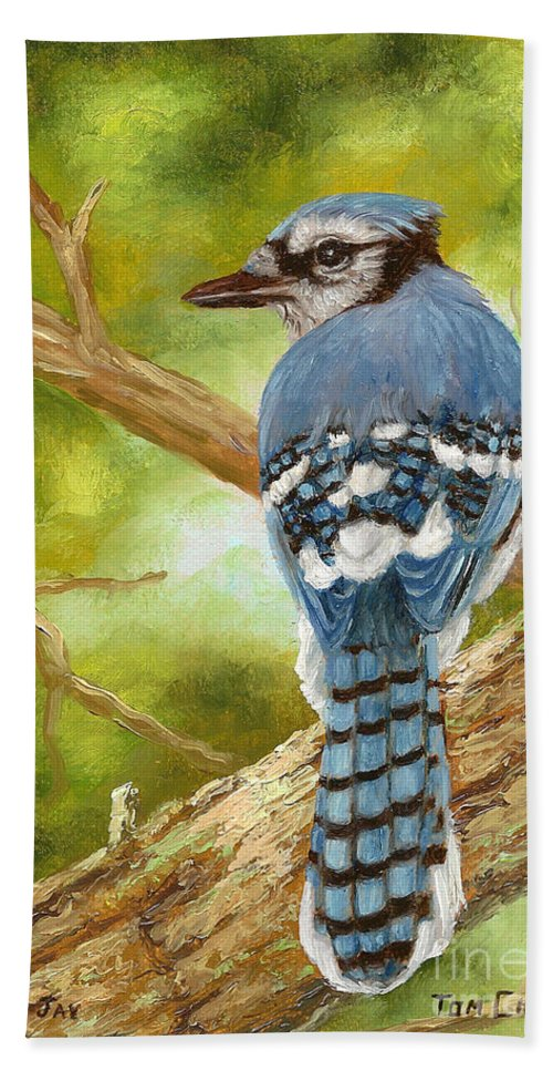 Blue Jay Bath Sheet featuring the painting Blue Jay by Tom Chapman