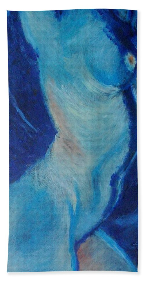 Blue Lagoon Hand Towel featuring the painting Blue Lagoon - Nudes Gallery by Carmen Tyrrell