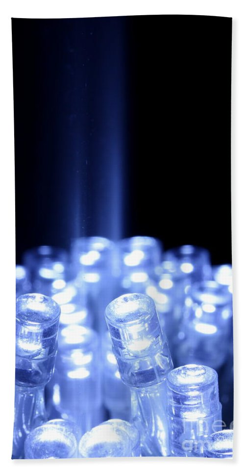 Abstract Hand Towel featuring the photograph Blue Led Lights With Light Beam by Simon Bratt Photography LRPS