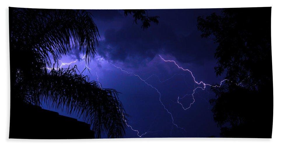 Lightning Bath Sheet featuring the photograph Blue Lightning by Darren Burton