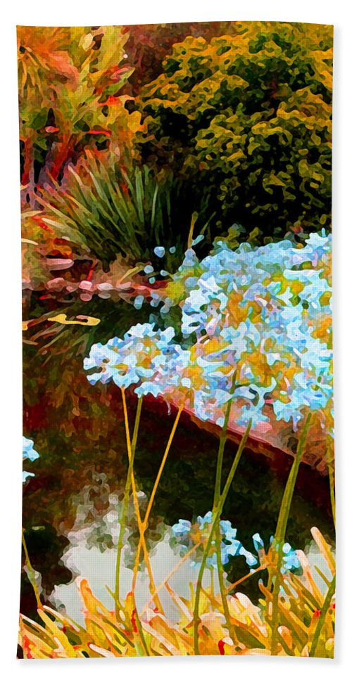 Blue Lilies Bath Sheet featuring the painting Blue Lily Water Garden by Amy Vangsgard