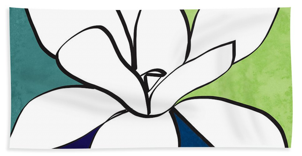 Magnolia Bath Towel featuring the painting Blue Magnolia 1- Floral Art by Linda Woods