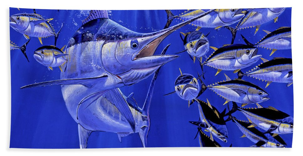 Blue Marlin Bath Towel featuring the painting Blue Marlin Round Up Off0031 by Carey Chen