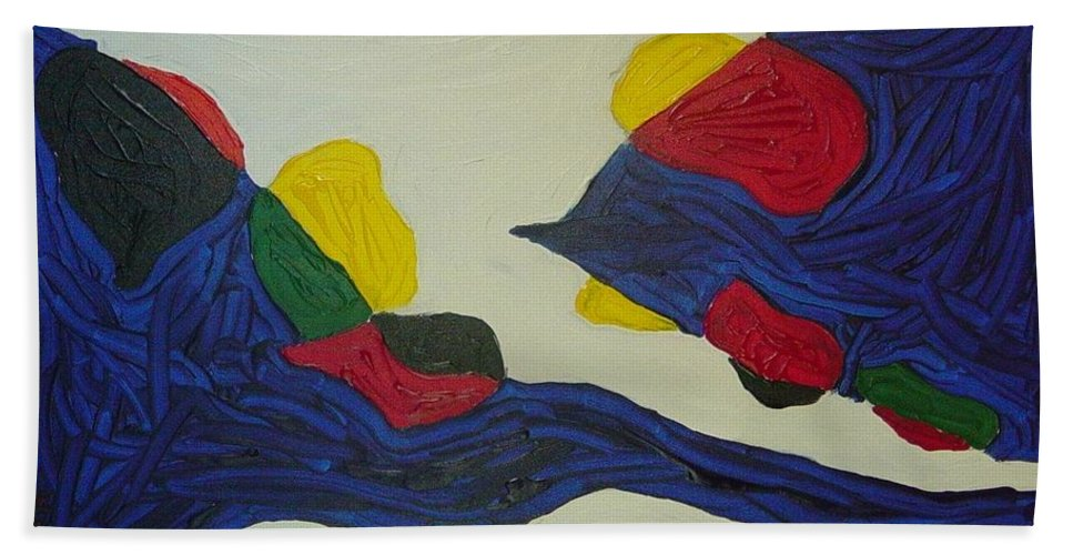 Abstract Bath Sheet featuring the painting Blue Meanies by Peter Nervo
