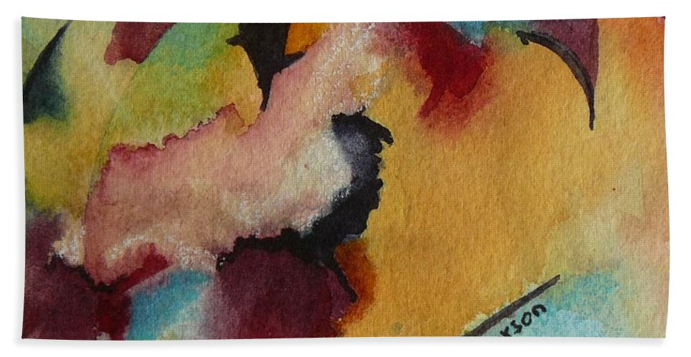 Abstract Bath Sheet featuring the painting Blue Moon by Eldora Schober Larson