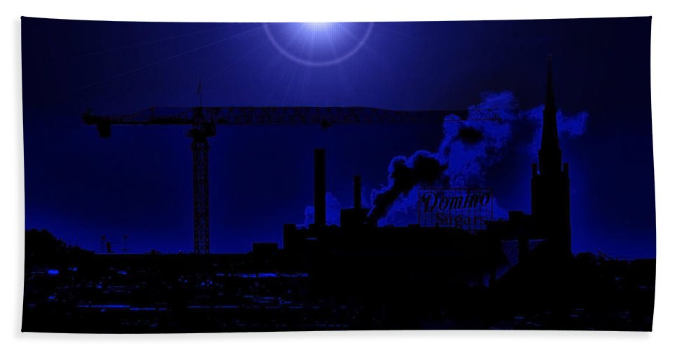 Moon Bath Sheet featuring the photograph Blue Moon Over Baltimore by Bob Geary
