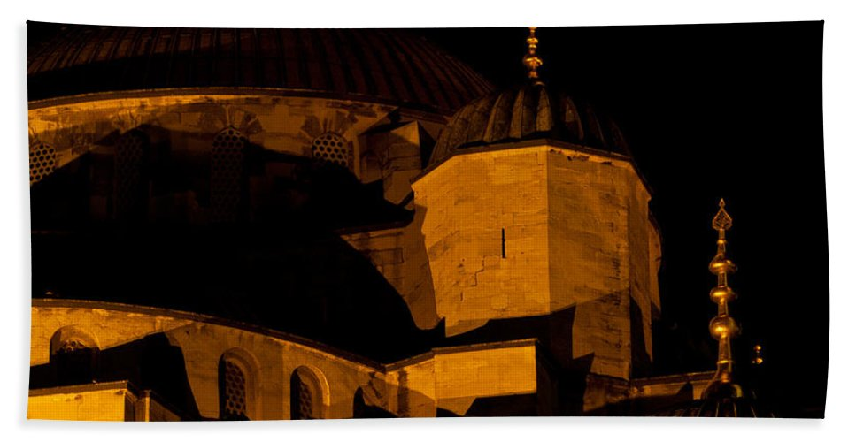 Istanbul Bath Sheet featuring the photograph Blue Mosque At Night 02 by Rick Piper Photography